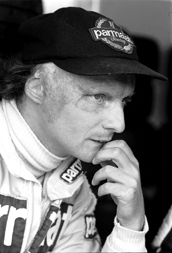 Niki Lauda after his fiery crash at the German Grand Prix. Three time World Champion.