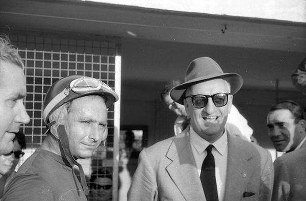 enzo Ferrari, Juan Fangio, Ferrari, Monza, klemcoll