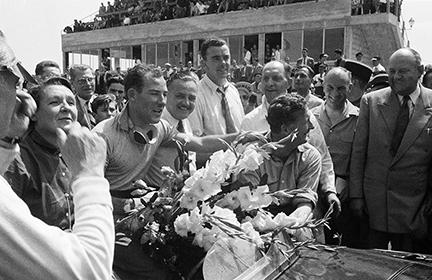 Stirling Moss, Peter Whitehead, klemcoll, Reims, Jaguar